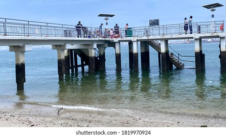 Punggol Jetty,-Singapore,-Circa September 2020, The jetty at the north-east end of Singapore located in Punggol Town, frequented by recreational anglers , day trippers and evening walkers.