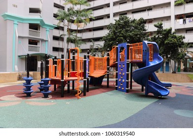 Punggol, Singapore - 29 March 2018: Photograph of a public playground found in a public housing estate of singapore