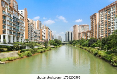 Punggol, Singapore - Aug 16 2018: Housing Development Board (HDB) Waterway View Estate in Punggol District. Public Housing Apartments with Beautiful Waterway and Landsca