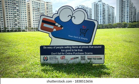 Punggol,Singapore,-Circa 2020,- Singapore Police  Force crime prevention information board in Punggol Town for the public to be aware of e-commerce and online scam.