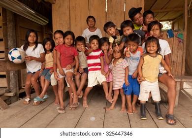 Puni Bocana, Ecuador - 23 November 2012: Group Of Local Kids From Puni Bocana Village  In Puni Bocana On November 23, 2012