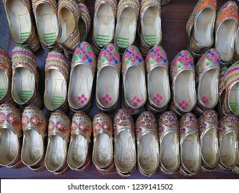 Punjabi jutti (footwear) for sale in indian market. Selective foucs