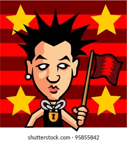 Punk Character with Flag