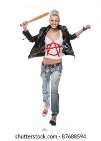 Punk girl isolated on white background