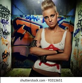 Punk girl outdoors