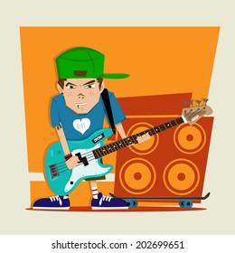 Punk rock boy bass player Illustration