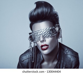 punk woman with interesting glasses