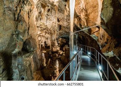 Punkevni Cave in the Moravian Karst Area near Brno, Czech Republic. An incredible stalactite in the Moravian Karst.