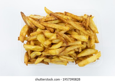 punnet of french fries isolated on a white background