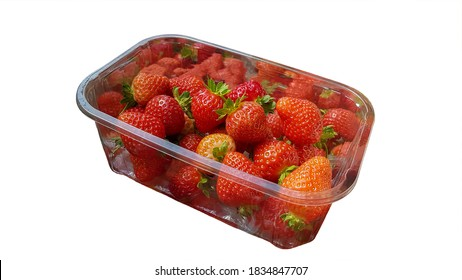 punnet  with strawberries isolated on a white background