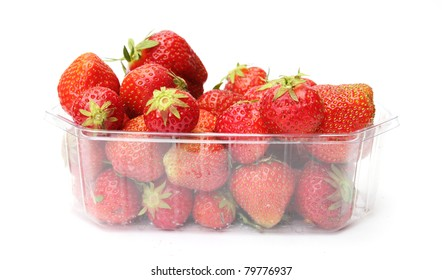 a punnet of strawberries isolated on white background