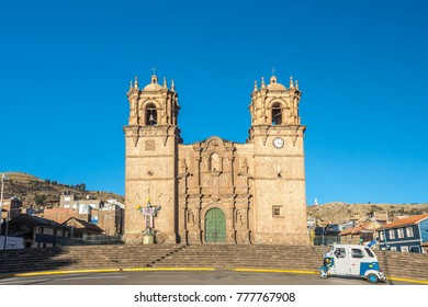 Puno Cathedral, the landmark of Puno, Peru.