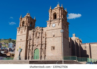 Puno Cathedral, located opposite the Plaza de las Armas in Puno, is a building made entirely of stone
