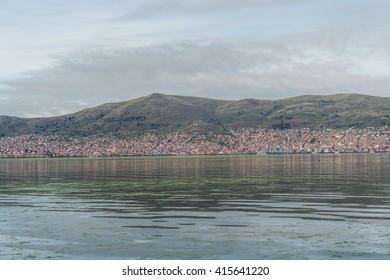 Puno city from Lake titicaca, Peru