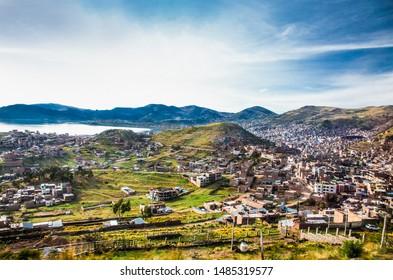 Puno panoramic city view , located in  Peru near the high altutude Titicaca lake . South America.