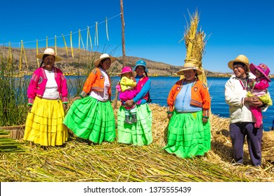 Puno / Peru - 11 04 2018: Local community of Uros floating islands in Peru