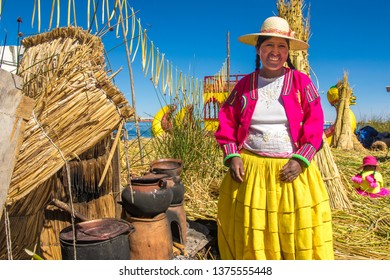 Puno / Peru - 11 04 2018: Local woman of Uros floating islands in Peru