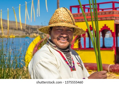 Puno / Peru - 11 04 2018: Local man of Uros floating islands in Peru