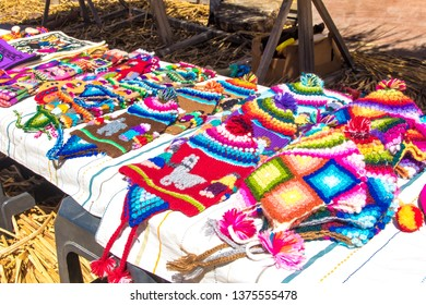 Puno / Peru - 11 04 2018: Traditional Peruvian handicrafts