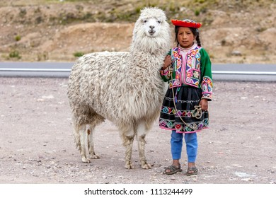 PUNO, PERU - MAY 02, 2012 : A Peruvian girl standing on the roadside at La Region Puno Les Desea Feliz Viaje in Peru. This is a mountainous region with a height of 4335 metres above sea level.