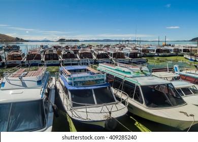 PUNO, PERU - MAY 14, 2015: Tourist boats in a port of Puno, Peru