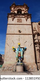 PUNO PERU - NOVEMBER 28 2010: Details of the Cathedral Basilica San Carlos Borromeo or Puno Cathedral is a Andean Baroque cathedral in the city of Puno in south-eastern Peru.