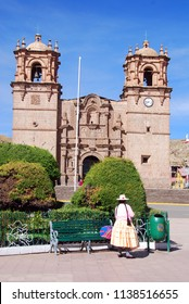 PUNO PERU NOVEMBER 28: The Cathedral Base­lica San Carlos Borromeo or Puno Cathedral is a Andean Baroque cathedral in the city of Puno in south-eastern Peru. On November 28 2010, Puno, Peru