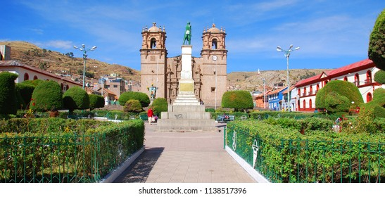 PUNO PERU - NOVEMBER 28: The Cathedral Basilica San Carlos Borromeo or Puno Cathedral is a Andean Baroque cathedral in the city of Puno in south-eastern Peru. On November 28 2009, Puno, Peru