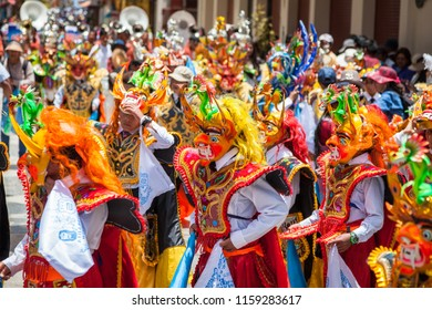 Puno, Peru - November 3rd 2017 : large traditional parade for the city of Puno's birthday. The student of a local school were marching and dancing in the streets of the city all day long.