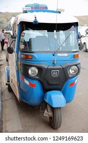 Puno, Peru – October 24, 2018: Rickshaw also called Tuk Tuk in Puno. Peru