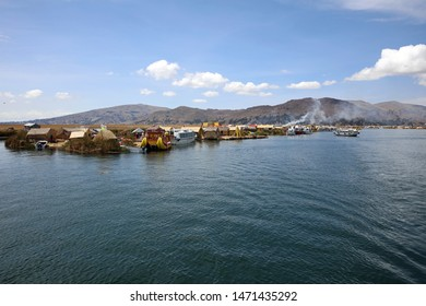 Puno, Peru – October 24, 2018: The Uros Floating Islands in Lake Titicaca. Peru