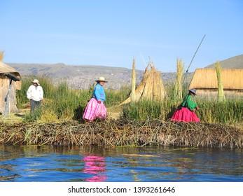 Puno, Peru, South America - 03.05 2014: Peruvian people lives on islands of lake Titicaca.