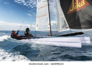 PUNTA ALA - 3 JUNE: couple of athlete on sail boat during Formula 18 national catamaran regatta, on June 3 2016 in Punta Ala, Italy