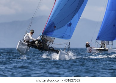 PUNTA ALA - 3 JUNE: second day of competition on Formula 18 national catamaran race, on June 3 2016 in Punta Ala, Italy
