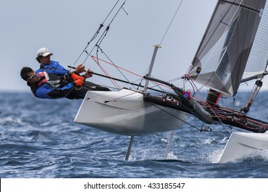 PUNTA ALA - 3 JUNE:  teams sailing on Formula 18 national catamaran race, on June 3 2016 in Punta Ala, Italy