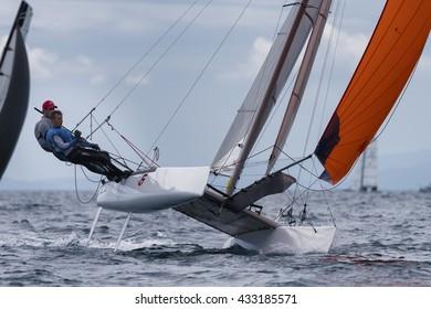PUNTA ALA - 3 JUNE:  teams sailing on Formula 18 national catamaran race, on June 3 2016 in Punta Ala, Italy