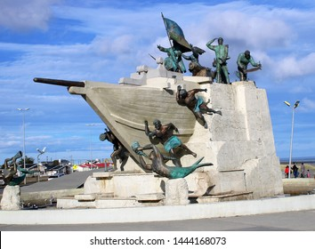 Punta Arenas, Chile - Feb 15, 2018: Maritime Monument on the historic waterfront of the Strait of Magellan in Punta Arenas, Chile.