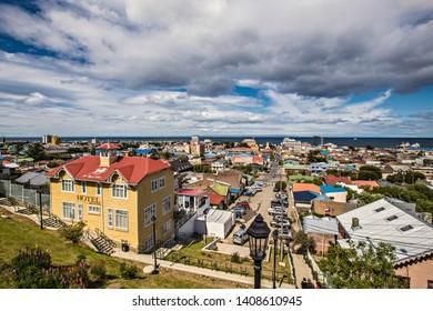 PUNTA ARENAS, CHILE - February 2019: Aerial view of the Punta Arenas town from the view point Mirador Cerro De La Cruz. Skyline of Punta Arenas, Patagonia Chilena, Chile