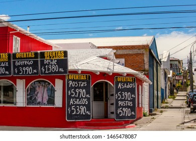 PUNTA ARENAS, CHILE - February 2019: Traditional meat and grocery shop in Punta Arenas, Patagonia, Chile