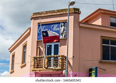 PUNTA ARENAS, CHILE - February 2019: Cityscape of Punta Arenas, old houses, Patagonia, South America, Chile