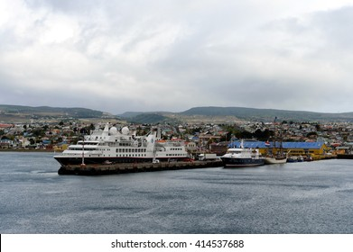 PUNTA ARENAS, CHILE - NOVEMBER 21,2014:Sea port of Punta Arenas in Chile. The administrative center of the province and Magallanes region Magallanes-and-La-Antarctica-Chilena.