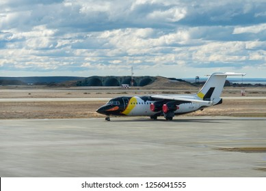 Punta Arenas, Chile - Oct 7, 2018: Antarctic Airways passenger airplane with penguin livery at the Punta Arenas Airport