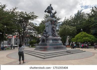 PUNTA ARENAS, CHILE-FEBRUARY 10, 2020: Statue of Ferdinand Magellan in the Plaza de Armas, Punta Arenas, Chile
