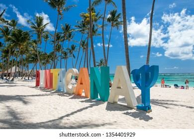Punta Cana, Dominican Republic 3/19, 2019: Punta Cana Club Med sign is placed on the beach of the resort.