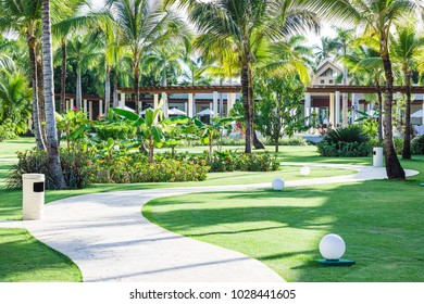 PUNTA CANA, DOMINICAN REPUBLIC - April 25, 2017: Open park area of Secrets Cap Cana during the day.