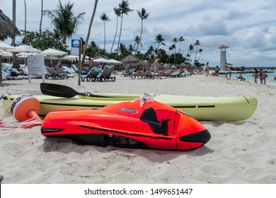Punta Cana, Dominican Republic - August 12, 2019: Red Sea bob on the beach. SeaBob: The World's Fastest Underwater Scooter