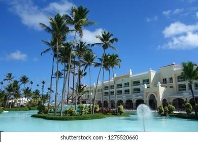 PUNTA CANA, DOMINICAN REPUBLIC - JANUARY 3, 2019: Iberostar Grand Hotel Bavaro resort in Punta Cana, Dominican Republic