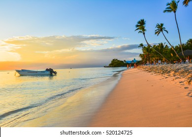 PUNTA CANA, DOMINICAN REPUBLIC - JANUARY 13, 2016 -  Landscape of paradise tropical island beach, sunrise shot