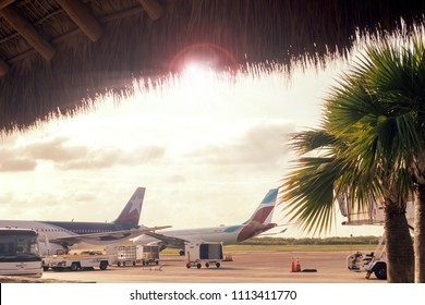 Punta Cana, Dominican Republic, June 9, 2018. Airport in the tropics. Airplanes, preparation for flight