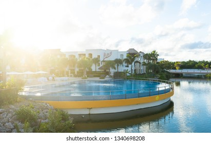 Punta Cana, Dominican Republic - March 12, 2019: Beautiful infinity pool at the Hard Rock Resort and Casino in Punta Cana. During sunset on a hot day on the tropical island.